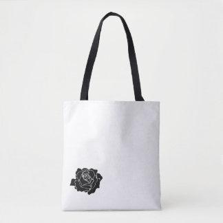 Black little rose tote bag