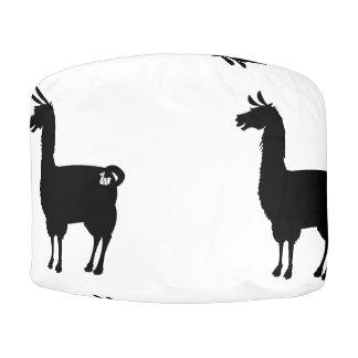 Black Llama Pouf