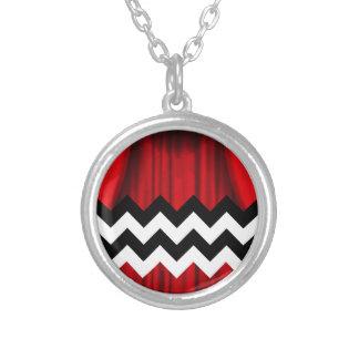 black lodge chevron silver plated necklace