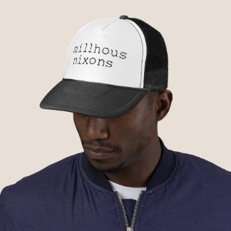 Black logo on trucker hat