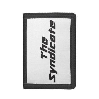 Black logo on white wallet