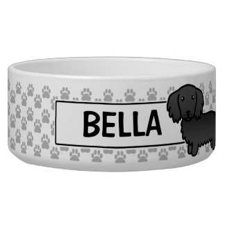Black Long Coat Dachshund Dog Bowls