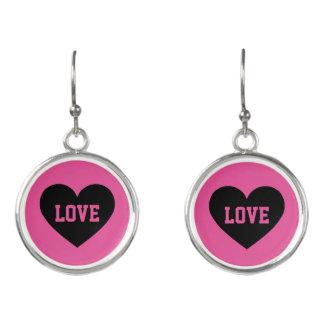 Black love heart earrings