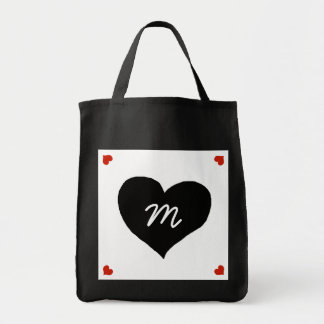 black love heart personalized tote bag