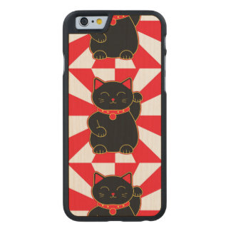 Black Lucky Cat Carved® Maple iPhone 6 Slim Case