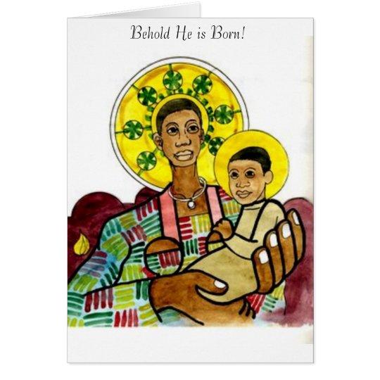 Black Madonna and Child Card