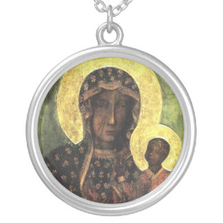 Black Madonna Silver Plated Necklace