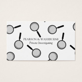 Black Magnifying Glass Pattern Private Detective Business Card