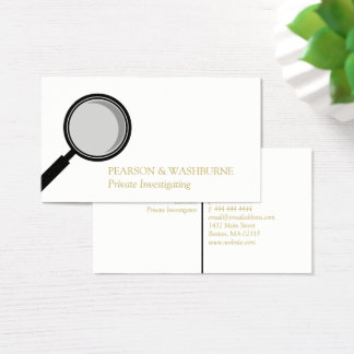 Black Magnifying Glass Private Investigator Business Card