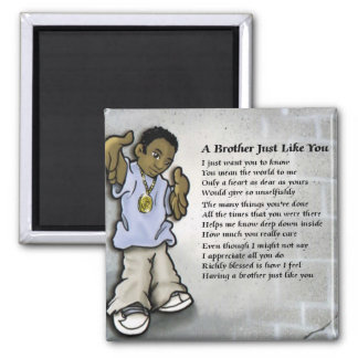 Black Male Youth Brother Square Magnet