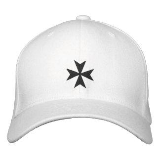 Black Maltese Cross Embroidered Hat