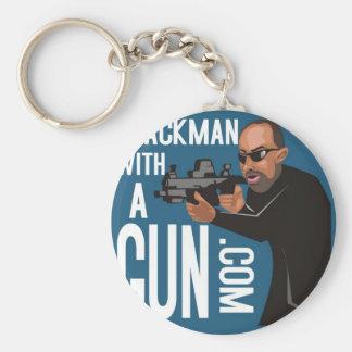 Black Man With A Gun LogoWear Keychains