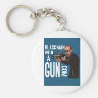 Black Man With A Gun LogoWear Keychain