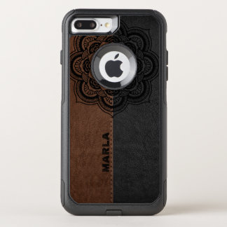 Black Mandala On Brown & Black Leather OtterBox Commuter iPhone 8 Plus/7 Plus Case