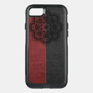 Black Mandala On Red & Black Leather OtterBox Commuter iPhone 8/7 Case