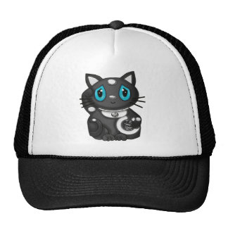 Black Maneki Neko Bekoning Good Luck Cat Hats