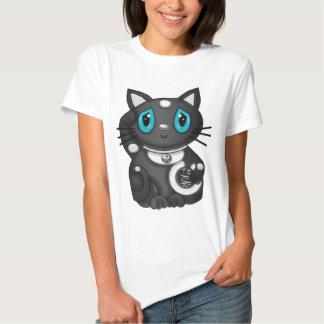 Black Maneki Neko Bekoning Good Luck Cat T-shirt