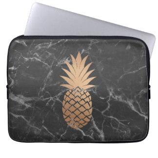 Black Marble and Rose Gold Pineapple Laptop sleeve