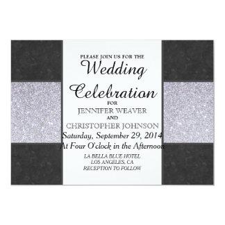 """Black Marble and Silver Glitter Panel Design 5"""" X 7"""" Invitation Card"""