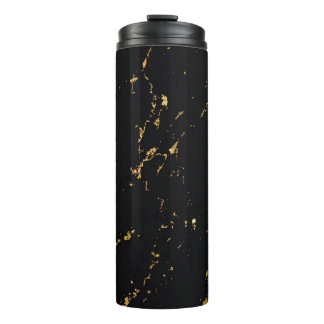 Black Marble Gold Accent Thermal Tumbler