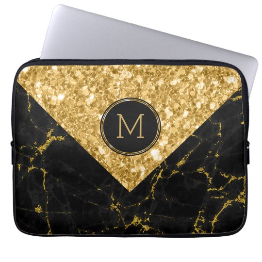 Black Marble & Gold Glitter Geometric Design Laptop Sleeve