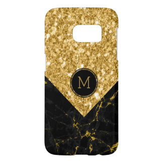 Black Marble & Gold Glitter Modern Geometric