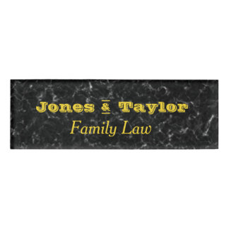Black Marble Gold Letters  Professional Attorney Name Tag