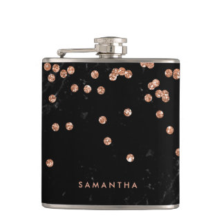 Black Marble Look with Faux Rose Gold Confetti Flasks