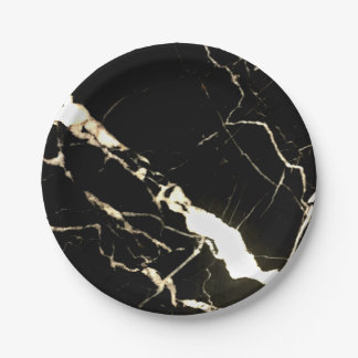Black Marble Paper Plate