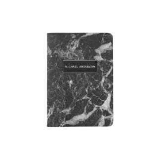 Black Marble Pattern with Custom Monogram Passport Holder