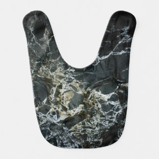 BLACK MARBLE ROCK Baby Bib