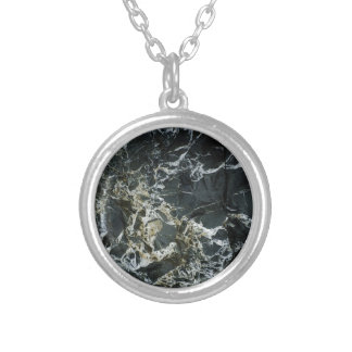 BLACK MARBLE ROCK Silver Plated Necklace