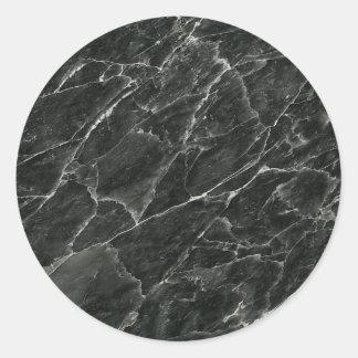 Black Marble Round Sticker