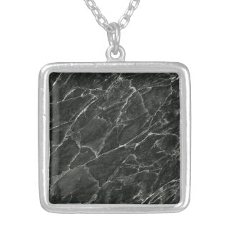 Black Marble Slab Silver Plated Necklace