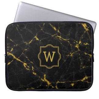 Black Marble Stone Gold Glitter Laptop Sleeve