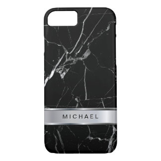 Black Marble Texture Silver Metallic Monogram Name iPhone 7 Case