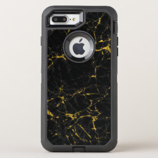 Black Marble With Gold Accent texture Print OtterBox Defender iPhone 8 Plus/7 Plus Case