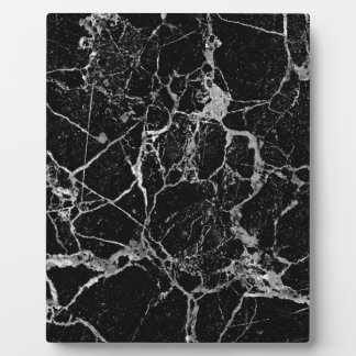 Black Marble with White Veining Plaque
