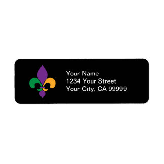 Black Mardi Gras Fleur de Lis Address Labels