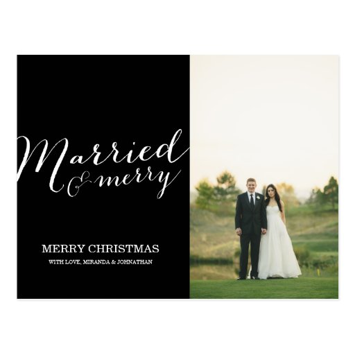 Black Married Christmas Photo Post Card