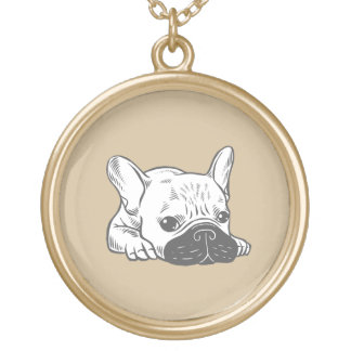 Black Mask Cream Frenchie Illustration Gold Plated Necklace