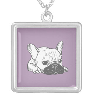 Black Mask Cream Frenchie Illustration Silver Plated Necklace
