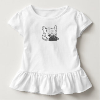 Black Mask Cream Frenchie Illustration Toddler T-Shirt