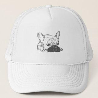 Black Mask Cream Frenchie Illustration Trucker Hat