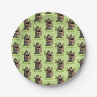 Black mask fawn Frenchie is a cute tree hugger 7 Inch Paper Plate
