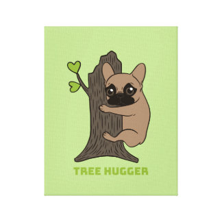 Black mask fawn Frenchie is a cute tree hugger Canvas Print
