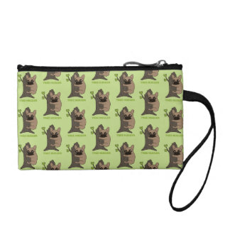 Black mask fawn Frenchie is a cute tree hugger Change Purses