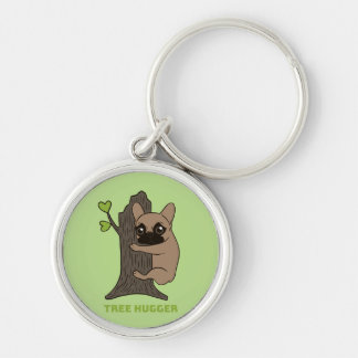 Black mask fawn Frenchie is a cute tree hugger Key Ring