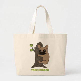 Black mask fawn Frenchie is a cute tree hugger Large Tote Bag