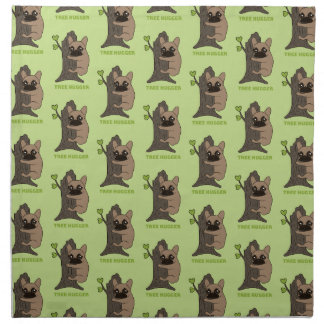 Black mask fawn Frenchie is a cute tree hugger Napkin